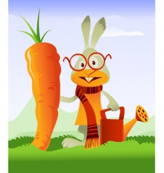 happy rabbit and giant carrot vector image vector image