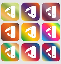 knife picnic icon sign Nine buttons with bright vector image