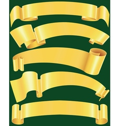 Ragged gold banners set vector