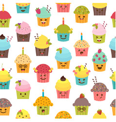 seamless pattern with cupcakes and muffins vector image vector image