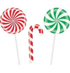 Set of colorful spiral candies lollipops vector image