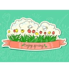 Spring sticker vector image vector image