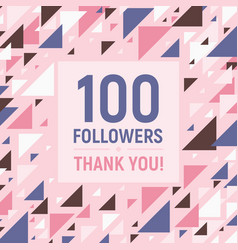 100 followers thank you social network banner vector