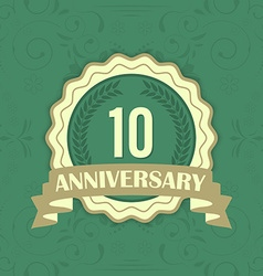 10th anniversary label on a green ornament vector image