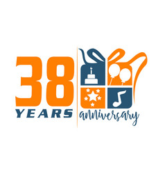 38 year gift box ribbon anniversa vector
