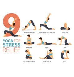 9 yoga poses for stress relief concept vector image