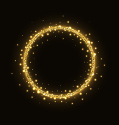 Abstract gold glittering circle frame vector