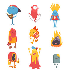 adorable freaky monsters set funny friandly vector image