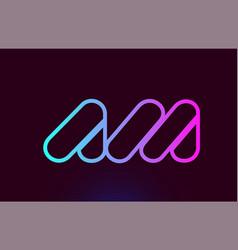 Am a m pink line alphabet letter combination logo vector