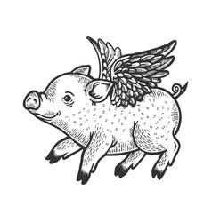 Angel flying baby piggy engraving vector