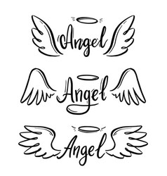 Angel wing with halo and lettering text vector