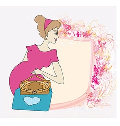 Beautiful pregnant girl frame vector image vector image