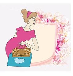 Beautiful pregnant girl frame vector
