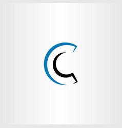 blue black c logo line icon symbol vector image