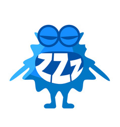 Blue blob saying zzz cute emoji character vector
