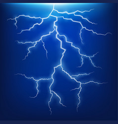 Blue lightning strike effect vector