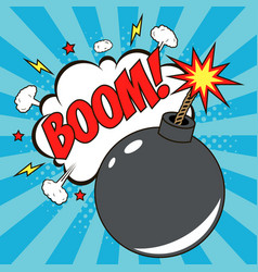 bomb in pop art style and speech bubble - boom vector image