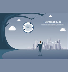 business man looking at clock hanging on tree over vector image