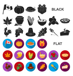 canada thanksgiving day flat icons in set vector image