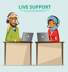 Cartoon muslim call center customer service vector