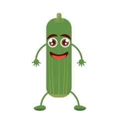 Cheerful cucumber greeting happy cut line vector
