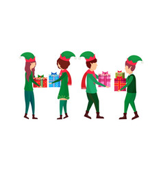 christmas boy girl present gift box each other elf vector image