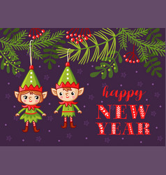 christmas-tree toys in the form of elves hang on a vector image