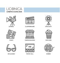 Cinema - modern flat line design icons set vector