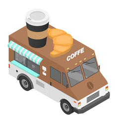 coffee truck icon isometric style vector image