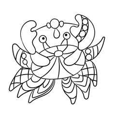 Coloring page with crab in ornamnets in design vector