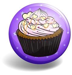 Cupcake on purple badge vector