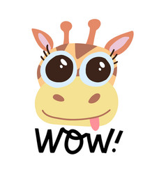cute yellow giraffe with big eyes on white vector image