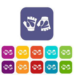 Cycling gloves icons set vector