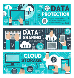 Data protection cloud web sharing banners vector