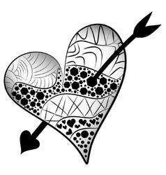 Detailed heart pierced an arrow in entangle style vector