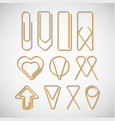 different of type paper clips collection vector image