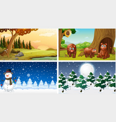 different set nature scenes vector image