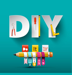 do it yourself design with paper cut letters vector image