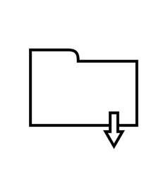 Download folder - line icon vector