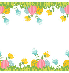 Easter greeting card with seamless floral border vector
