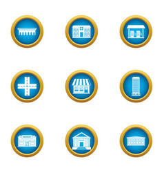 Edifice icons set flat style vector