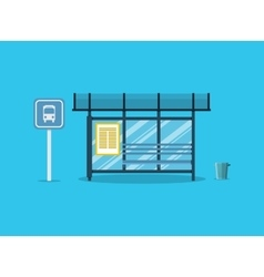 Empty Bus Stop with bench and trash vector