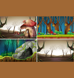 Fairy tale forest background vector