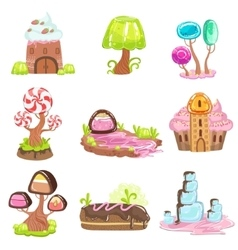 Fairy-tale landscape elements made of sweets and vector