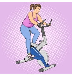 Fat woman on exercise bike pop art style vector image