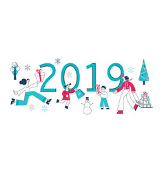 flat man woman 2019 sale snowman presents vector image