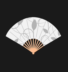 floral ornament asian fan on dark background vector image