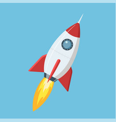 flying cartoon rocket in flat style isolated on vector image