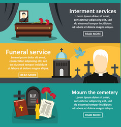 Funeral service banner horizontal set flat style vector
