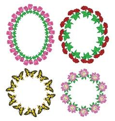 garlands of flowers and butterflies - set vector image vector image